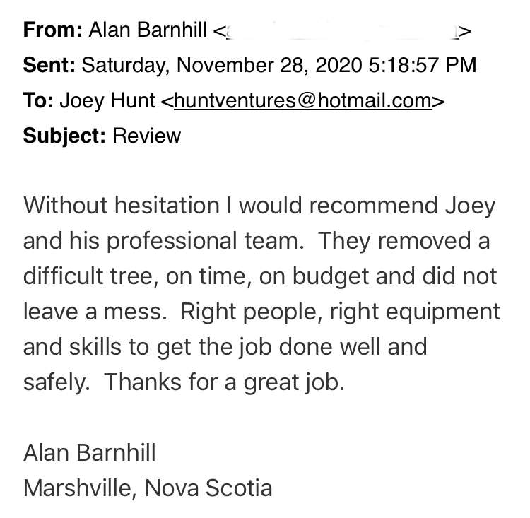 Customer Review - Hunt Ventures Tree Services